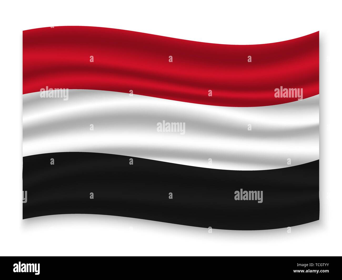 3D Waving Flag of Yemen . Template for your design - Stock Vector