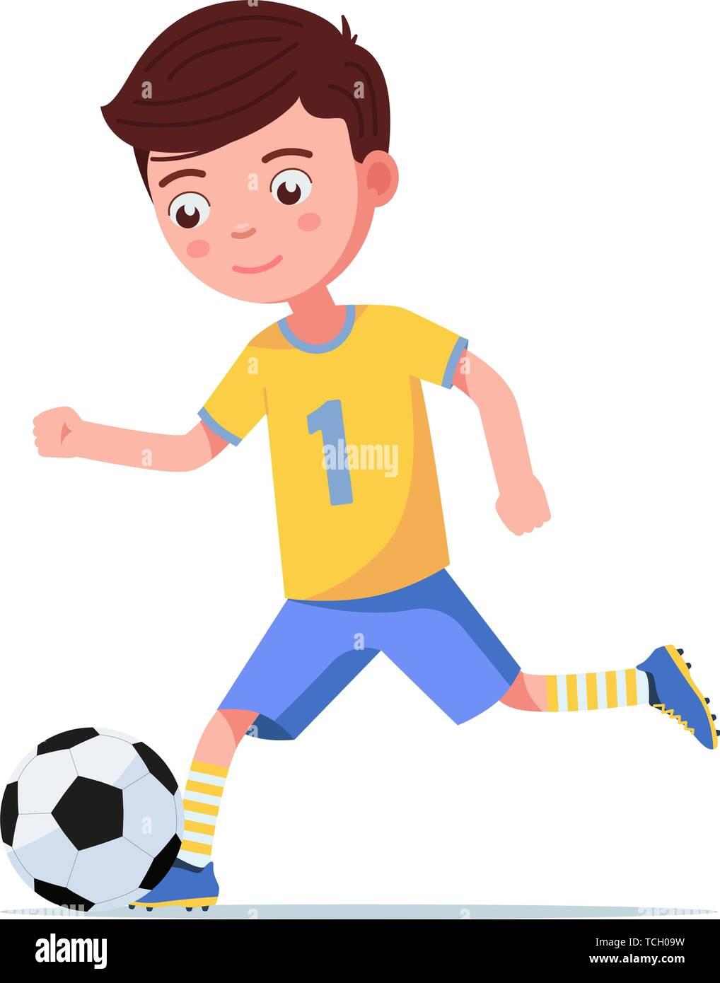 Boy soccer kicks the ball on the run - Stock Vector