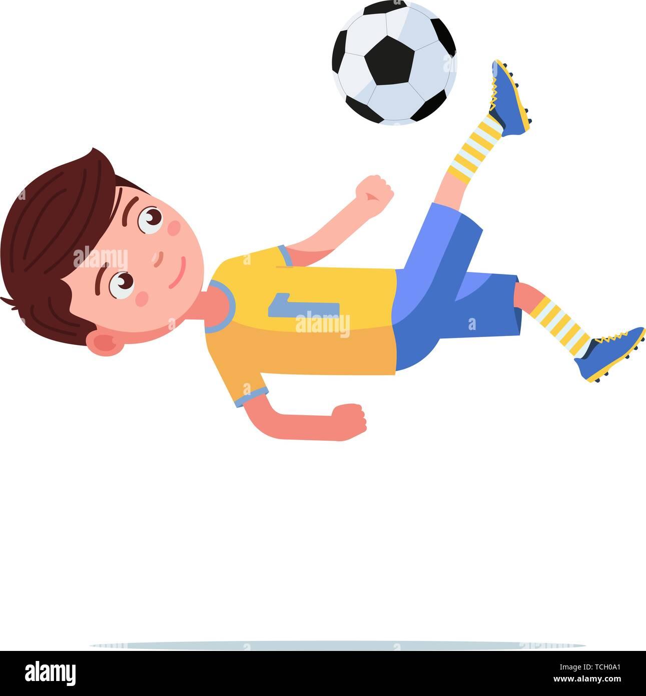 Boy soccer player kicks the ball in a flip jump - Stock Vector