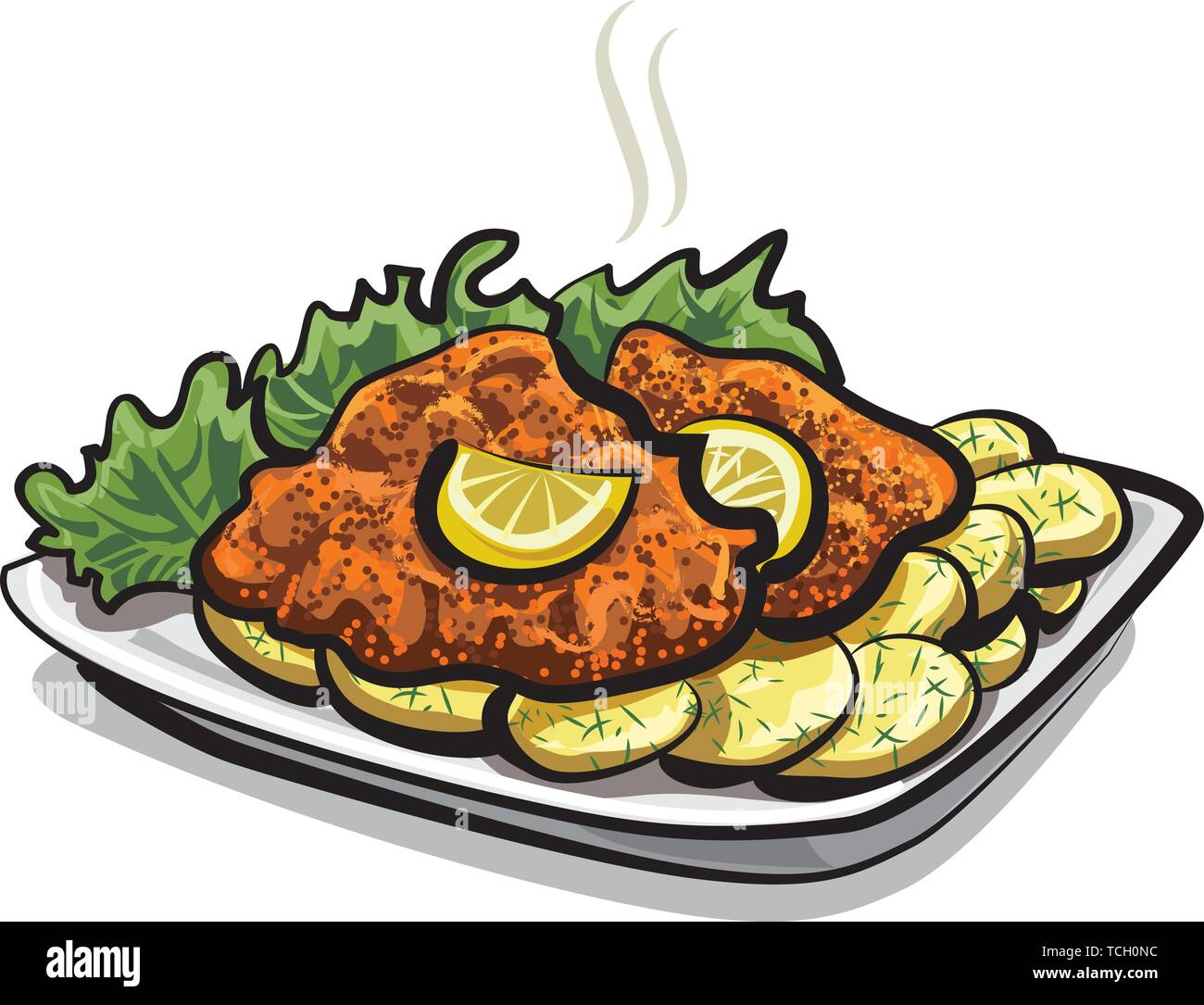 roasted schnitzel - Stock Vector