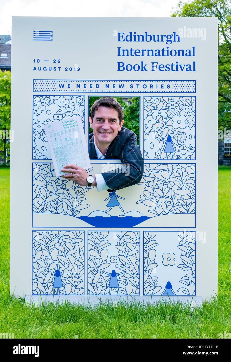 Nick Barley, Director Edinburgh International Book Festival launches the 2019  programme, Charlotte Square Gardens, Edinburgh, Scotland, UK - Stock Image