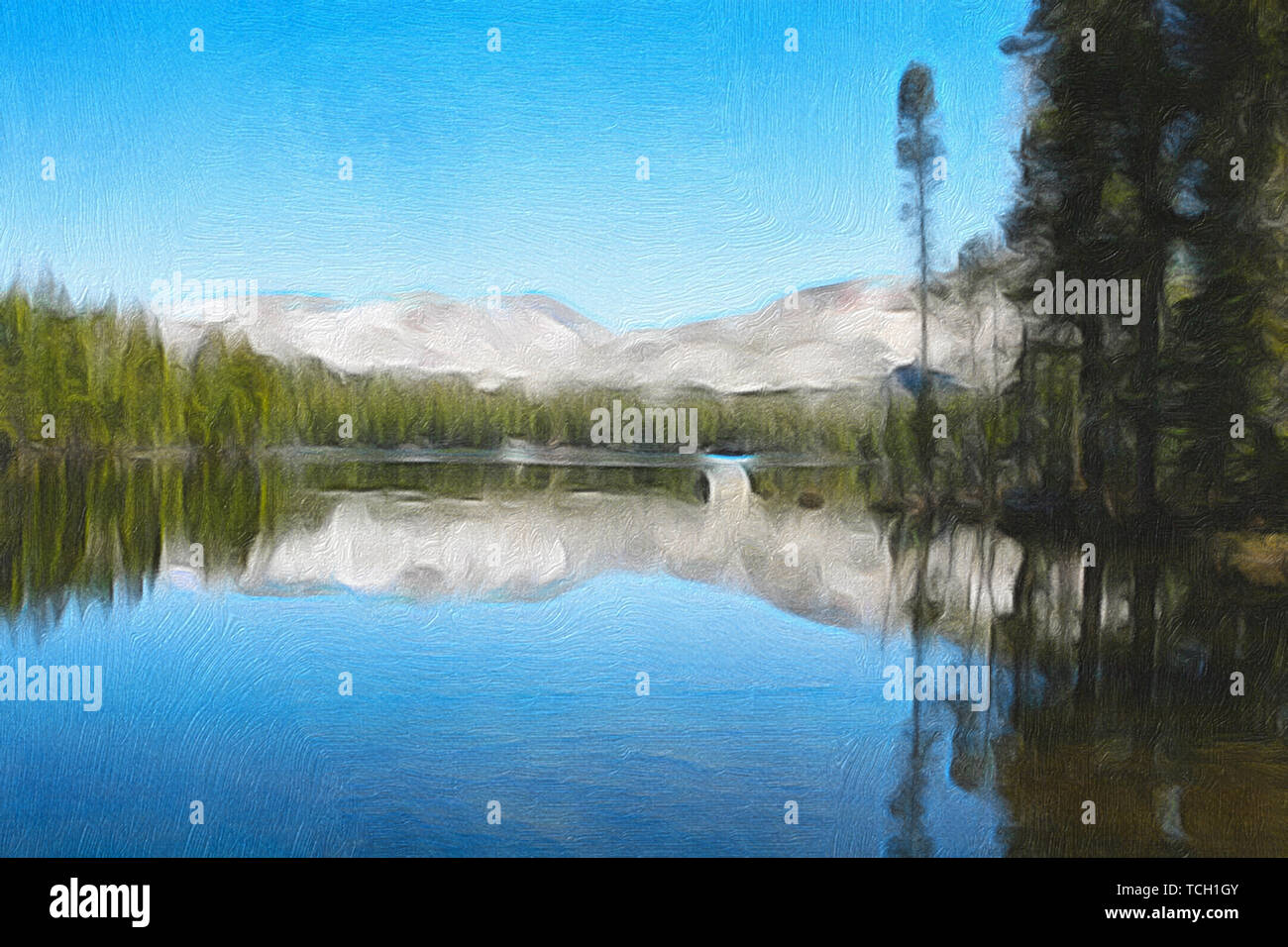 oil painting, lake, landscape, trees, forest, mountains, - Stock Image