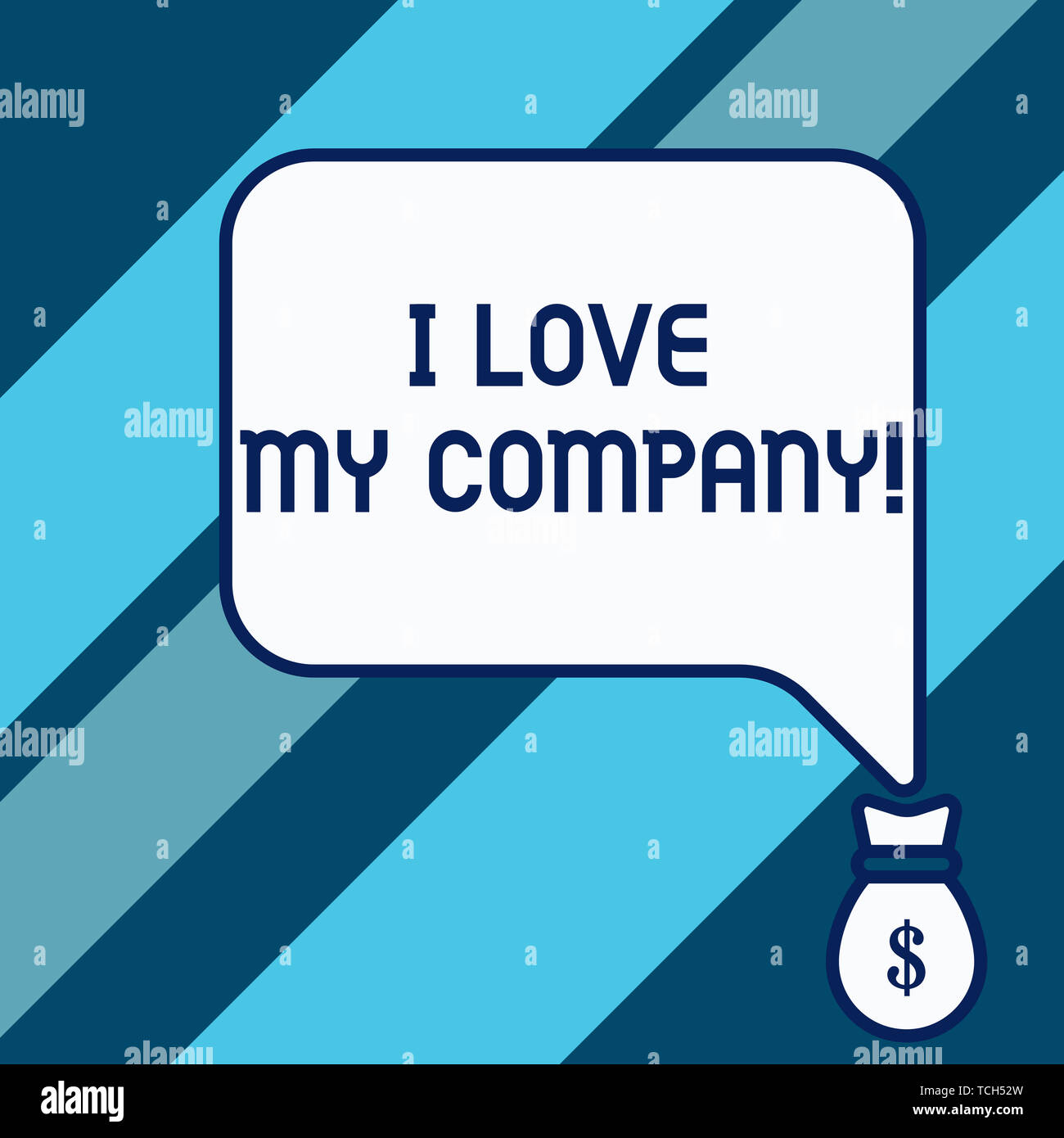 Conceptual hand writing showing I Love My Company. Concept meaning tell why admire their job and workplace Isolated front speech bubble pointing down  - Stock Image