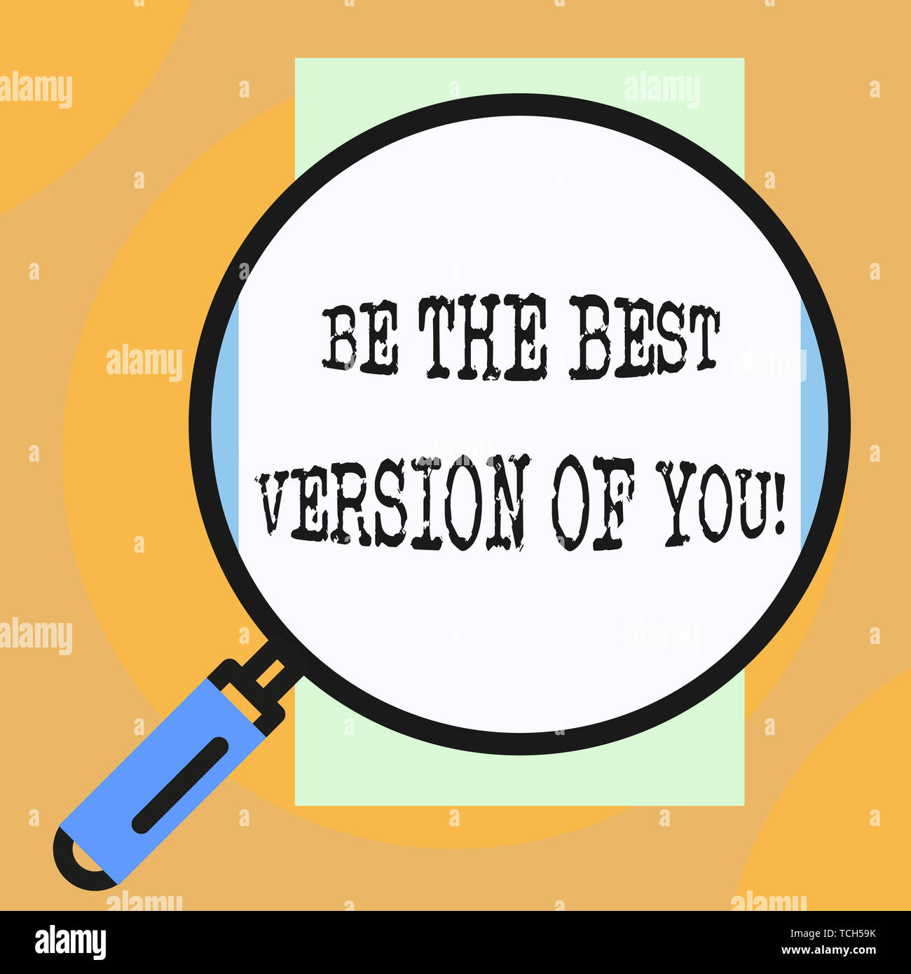 Conceptual hand writing showing Be The Best Version Of You. Concept meaning going to move away from where are start improving Big magnifier glass look - Stock Image
