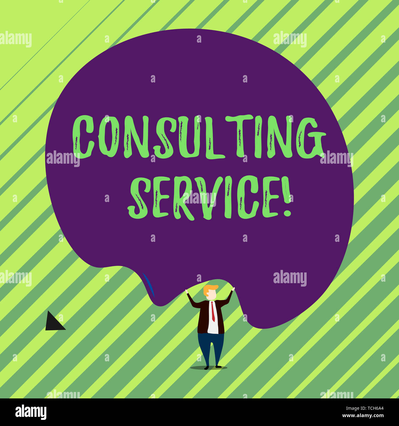 Handwriting text Consulting Service. Conceptual photo Experts that offers knowledge to a third party for a fee Male human wear formal tuxedo hold asym - Stock Image