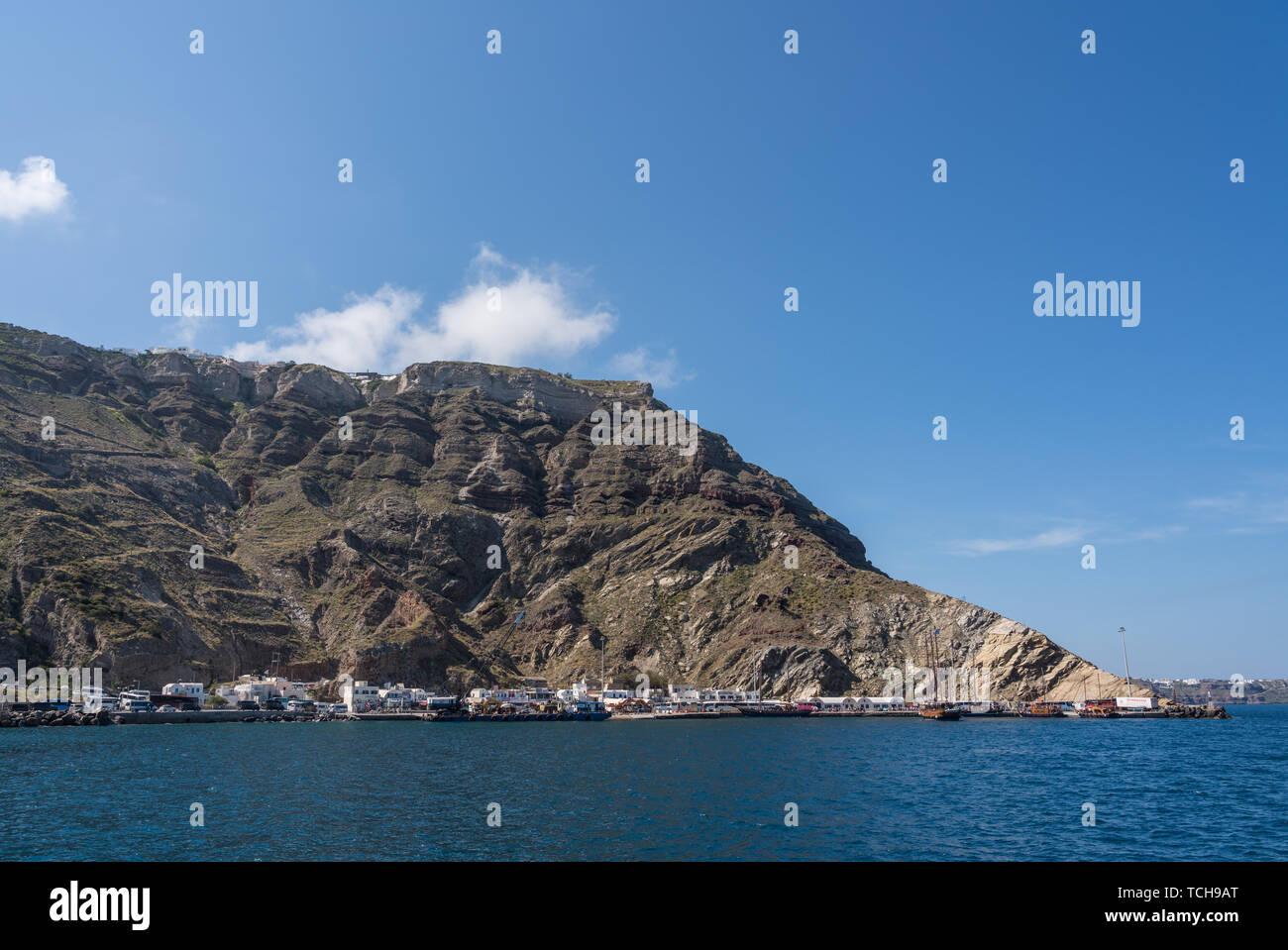 Skala Port On Volcanic Caldera Island Of Santorini Stock