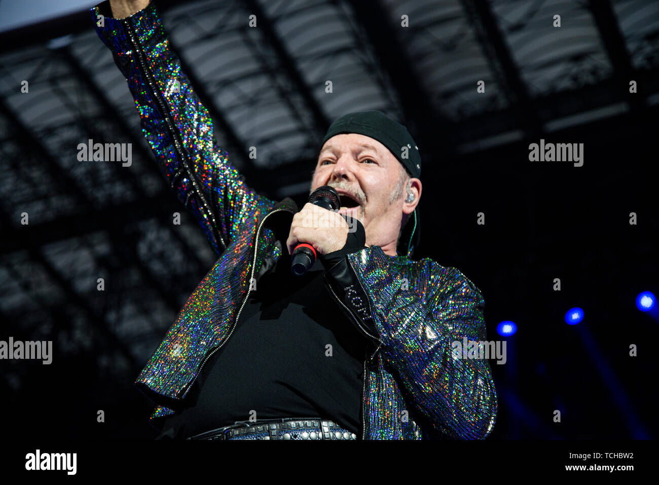 Vasco Rossi performs live on stage at San Siro Stadium during his non stop live music 2019 in Milano. Stock Photo