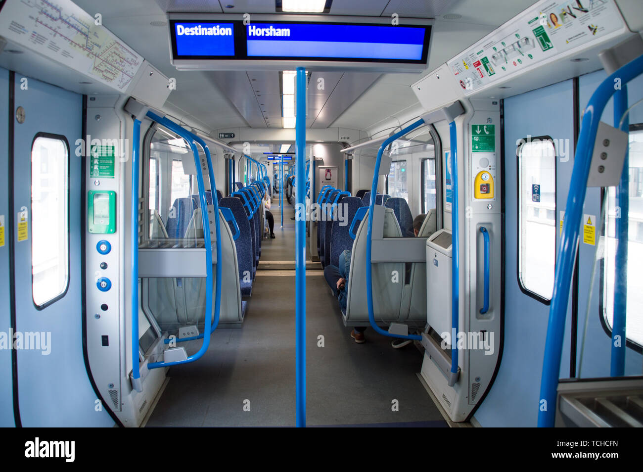 A near empty Thameslink coach in a service from London Bridge to Horsham on a weekend - Stock Image