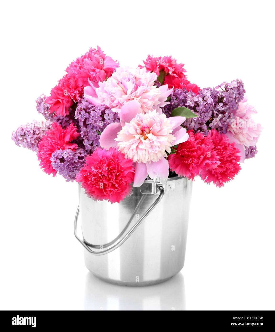Beautiful Spring Flowers In Metal Bucket Isolated On White Stock Photo Alamy