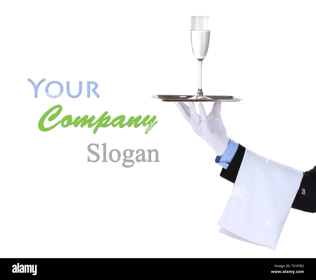Formal waiter with a glass of water on silver tray isolated on white Stock Photo