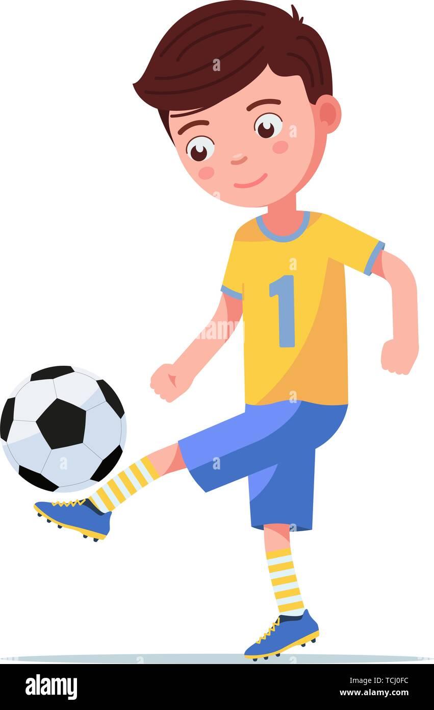 Boy soccer player kicking the ball on his leg - Stock Vector