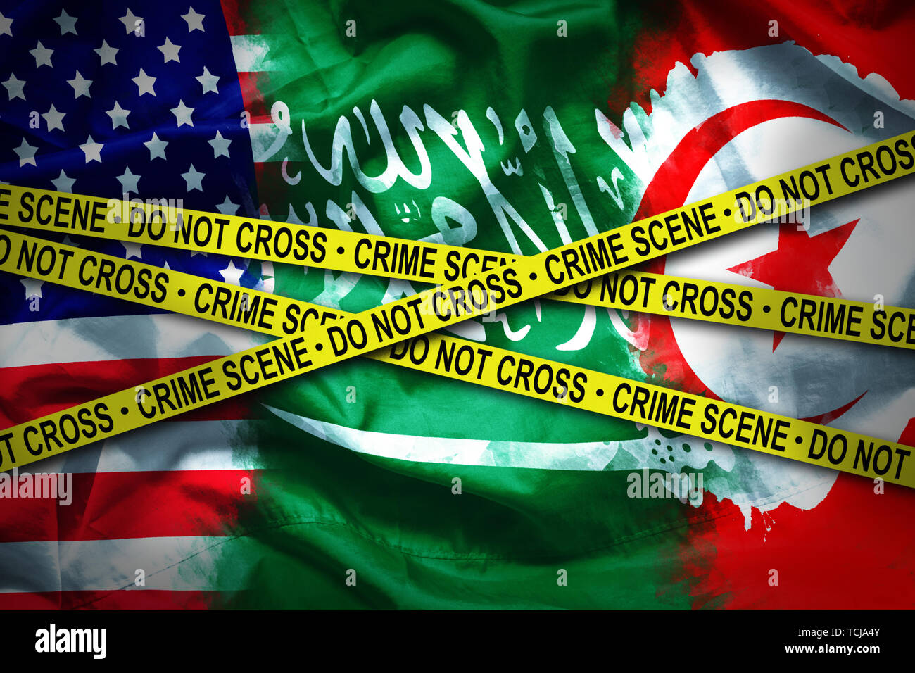 flags for 3 countries connected crime scene. case of murdered Saudi journalist who refuge in United state of america was kill in embassy Saudi Arabia  - Stock Image