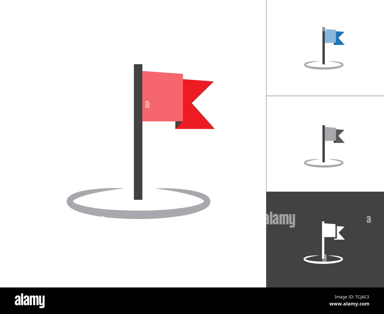 Flag GPS Map Pointer Isolated Vector Illustration Icon. Map Pin Concept Symbol on White Background. - Stock Image