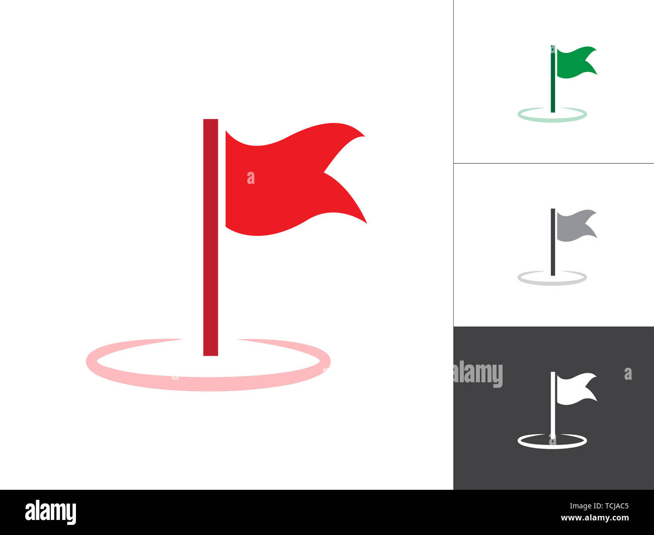 Flag Weaving GPS Map Pointer Isolated Vector Illustration Icon. Map Pin Concept Symbol on White Background. - Stock Image