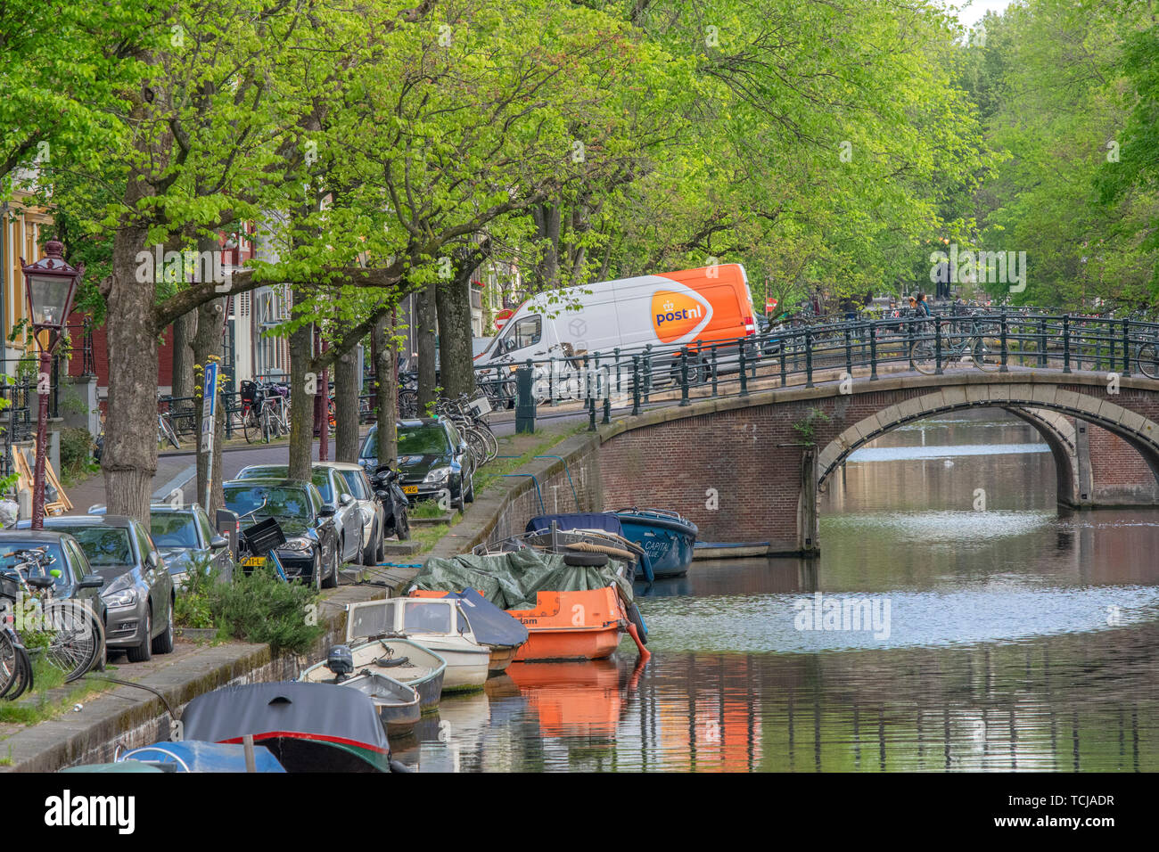 Post.nl Van On The Reguliersgracht At Amsterdam The Netherlands 2019 Stock Photo