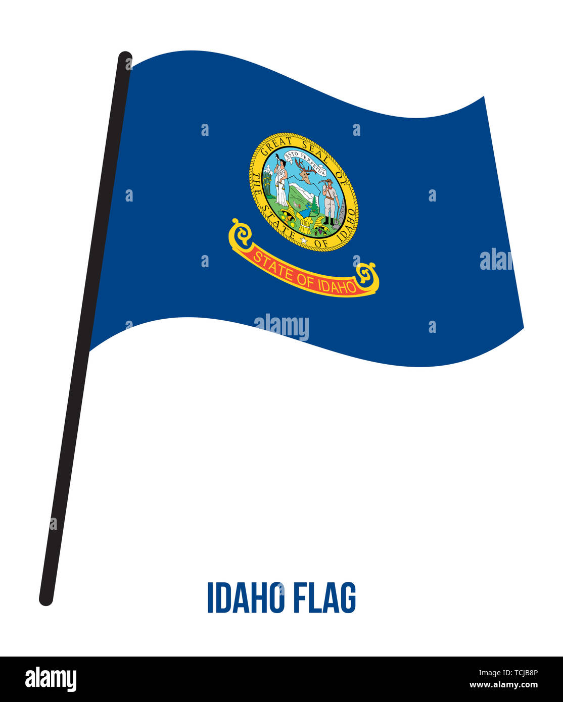 Idaho (U.S. State) Flag Waving Vector Illustration on White Background. Flag of the United States of America. - Stock Image