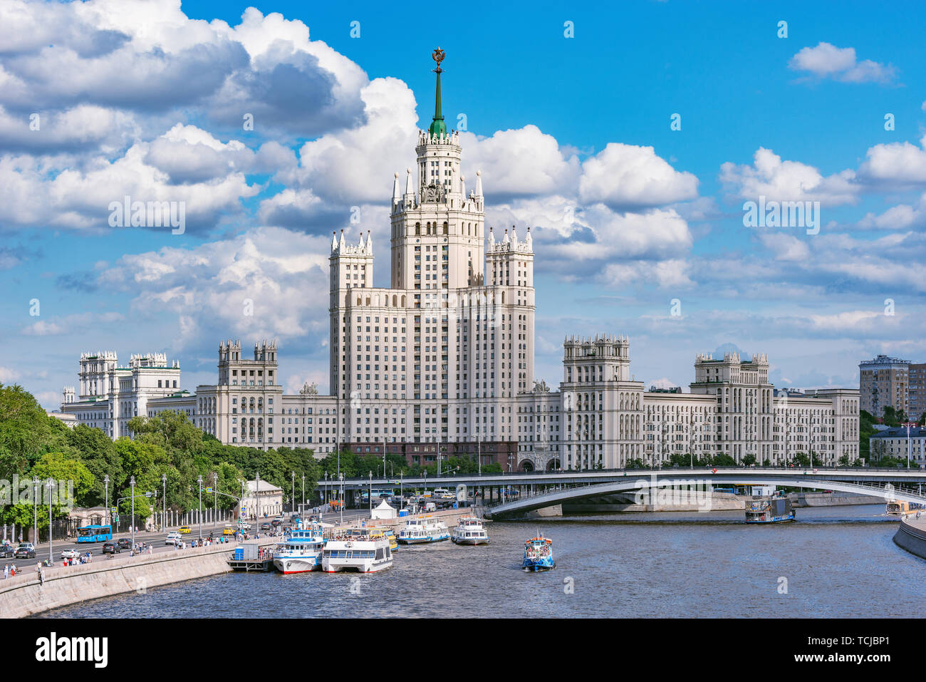 Retro skyscraper on Kotelnicheskaya embankment by Moscow river at summer day time. Moscow. Russia. Stock Photo
