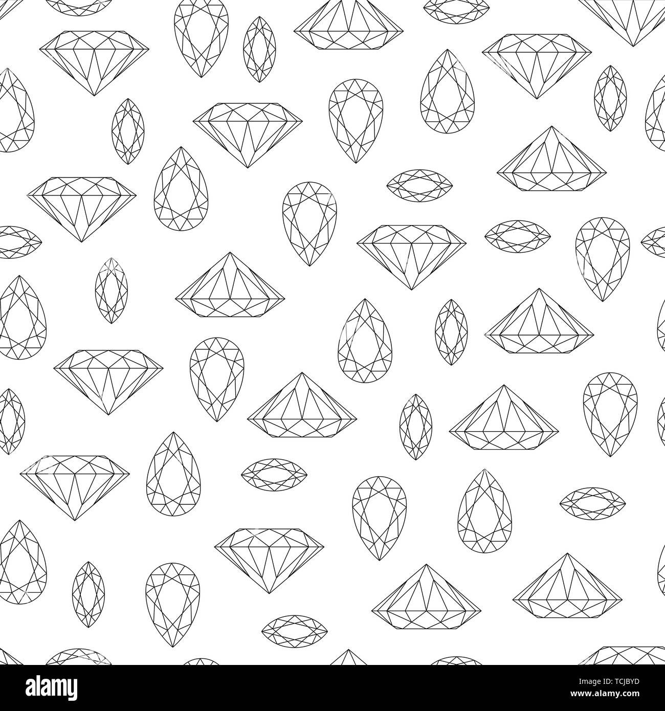 Monochrome black and white seamless pattern with gem stones and diamonds on white background. stock vector illustration - Stock Image