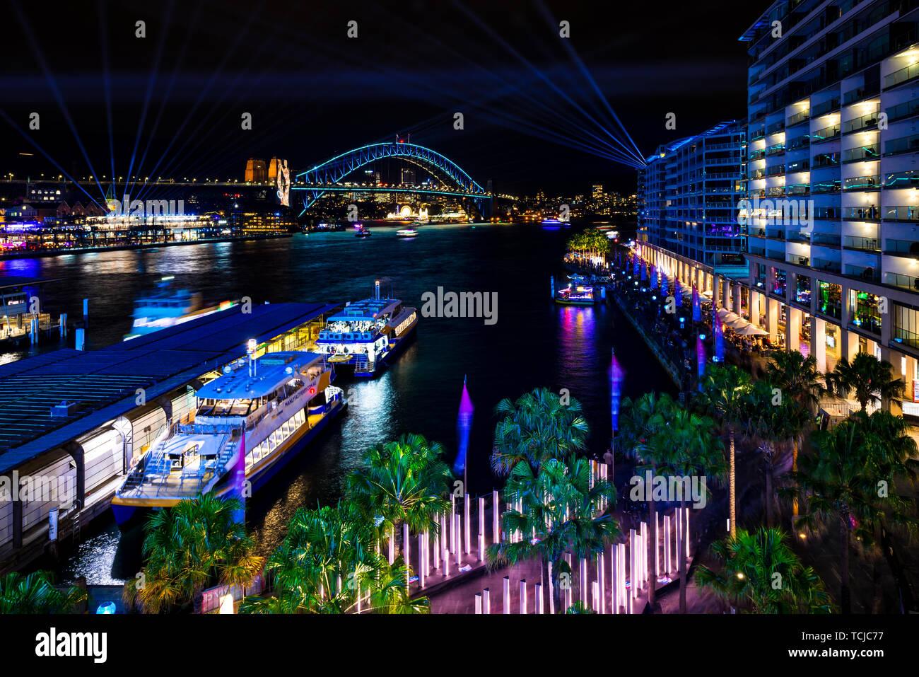 Circular Quay and theSydney Harbour Bridge during Vivid, in Sydney, Australia. Stock Photo
