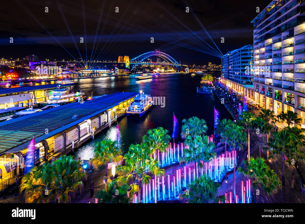 Sydney Harbour during Vivid, the annual light festival held in Sydney, Australia. Stock Photo