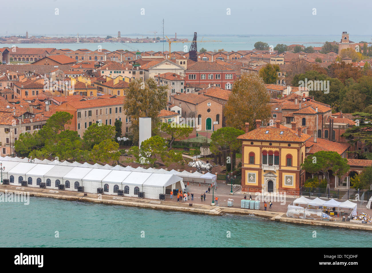 VENICE, ITALY - OCTOBER 27 2018: Aerial view of the arrival area of the Venice marathon - Stock Image