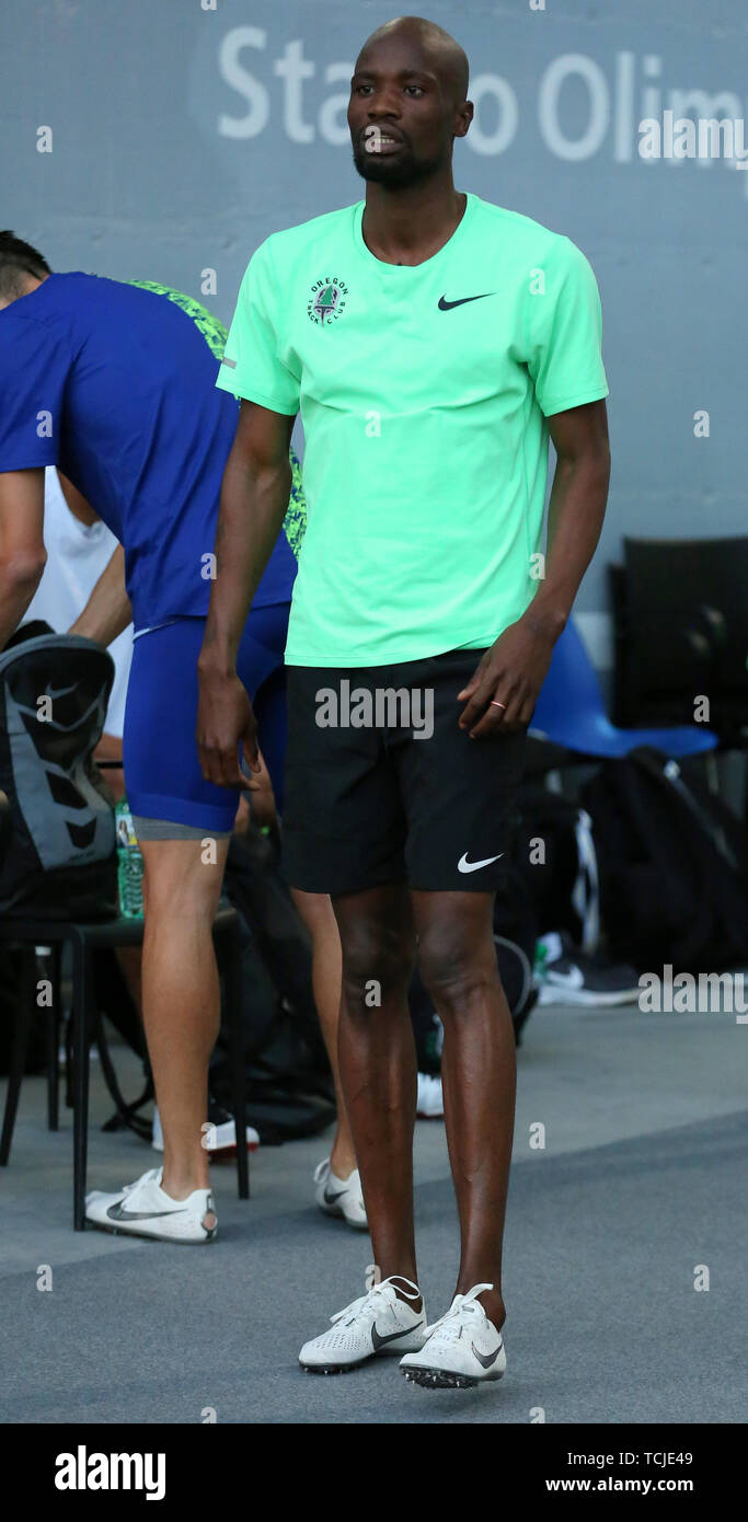 ROME, ITALY - JUN 06: Nijel Amos of Botswana prepares to compete in the Men 800m event during the IAAF Diamond League 2019 Golden Gala Pietro Mennea i - Stock Image