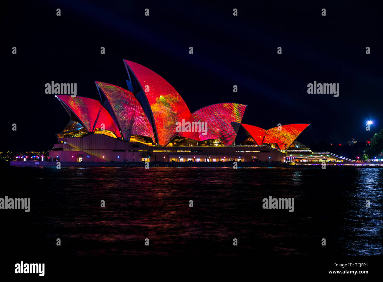 The Sydney Opera House at night during the popular light festival Vivid. Sydney, Australia. Stock Photo