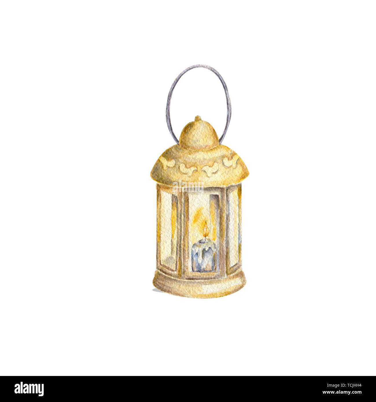 Watercolor old lamp, painting drawing bright old fashioned hand flashlight. Kerosene lamp or candle houses old lamp birthday, wedding Geometric - Stock Image