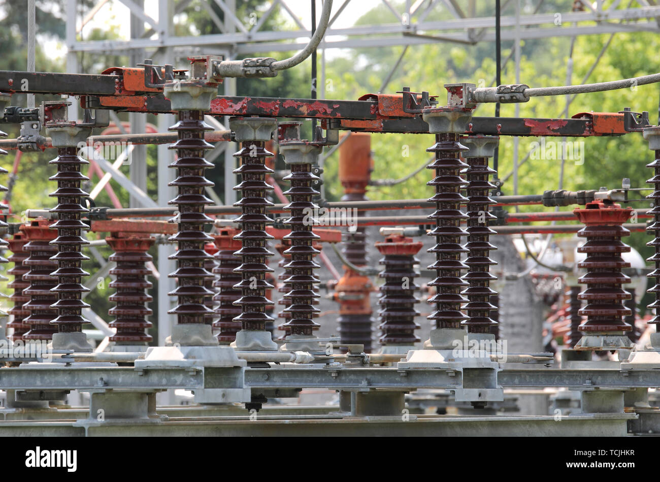 large industrial disconnectors under load and switches in the power plant for the production of electric power - Stock Image