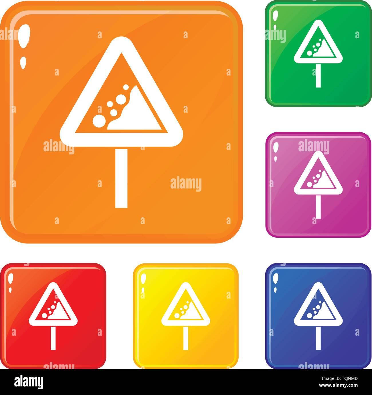 Falling rocks warning traffic sign icons set vector color - Stock Image