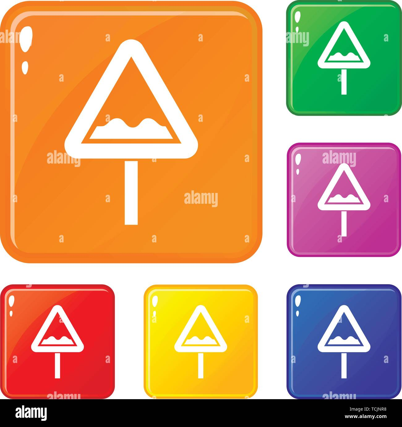Uneven triangular road sign icons set vector color - Stock Image