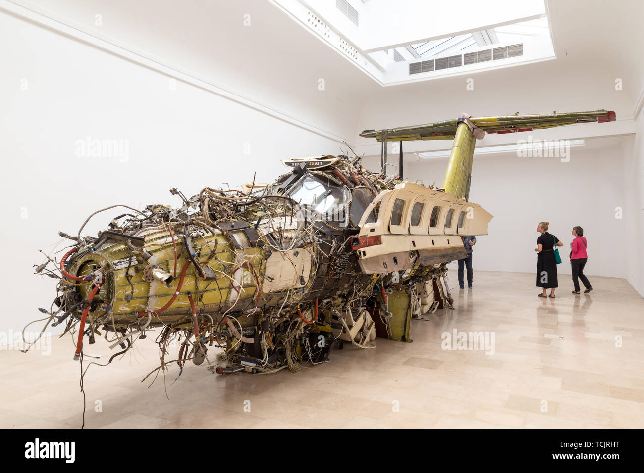 Venice Italy - May 25 2019: Biennale Arte 2019 Flight by Troman Stanczak is a surrealist sculpture: an inside-out luxury private aircraft. - Stock Image