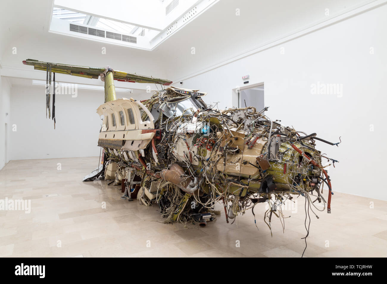 Venice Italy - May 25, 2019: Biennale Arte 2019 Flight by Troman Stanczak is a surrealist sculpture an inside-out luxury private aircraft. - Stock Image