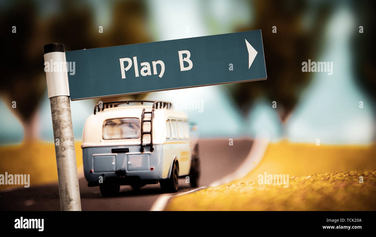 Street Sign the Direction Way to Plan B - Stock Image