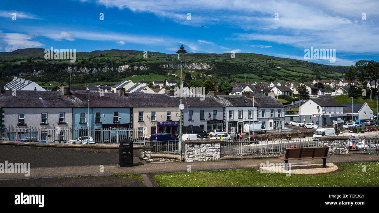 Carnlough, a small village on the causeway coastal road in Antrim, Northern Ireland - Stock Image
