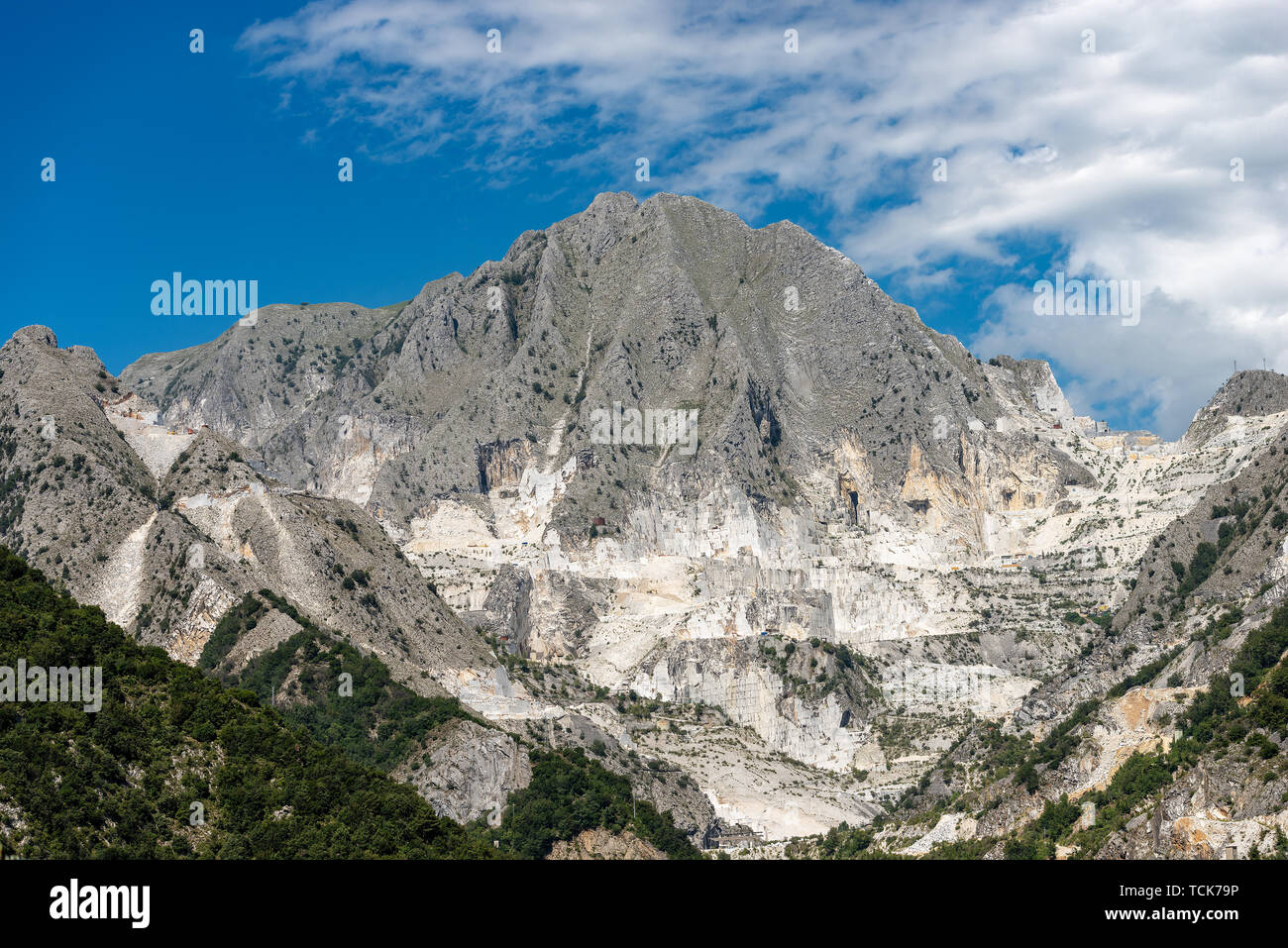 Apuan Alps in Italy with the famous white marble quarries of Carrara, Tuscany, Europe Stock Photo