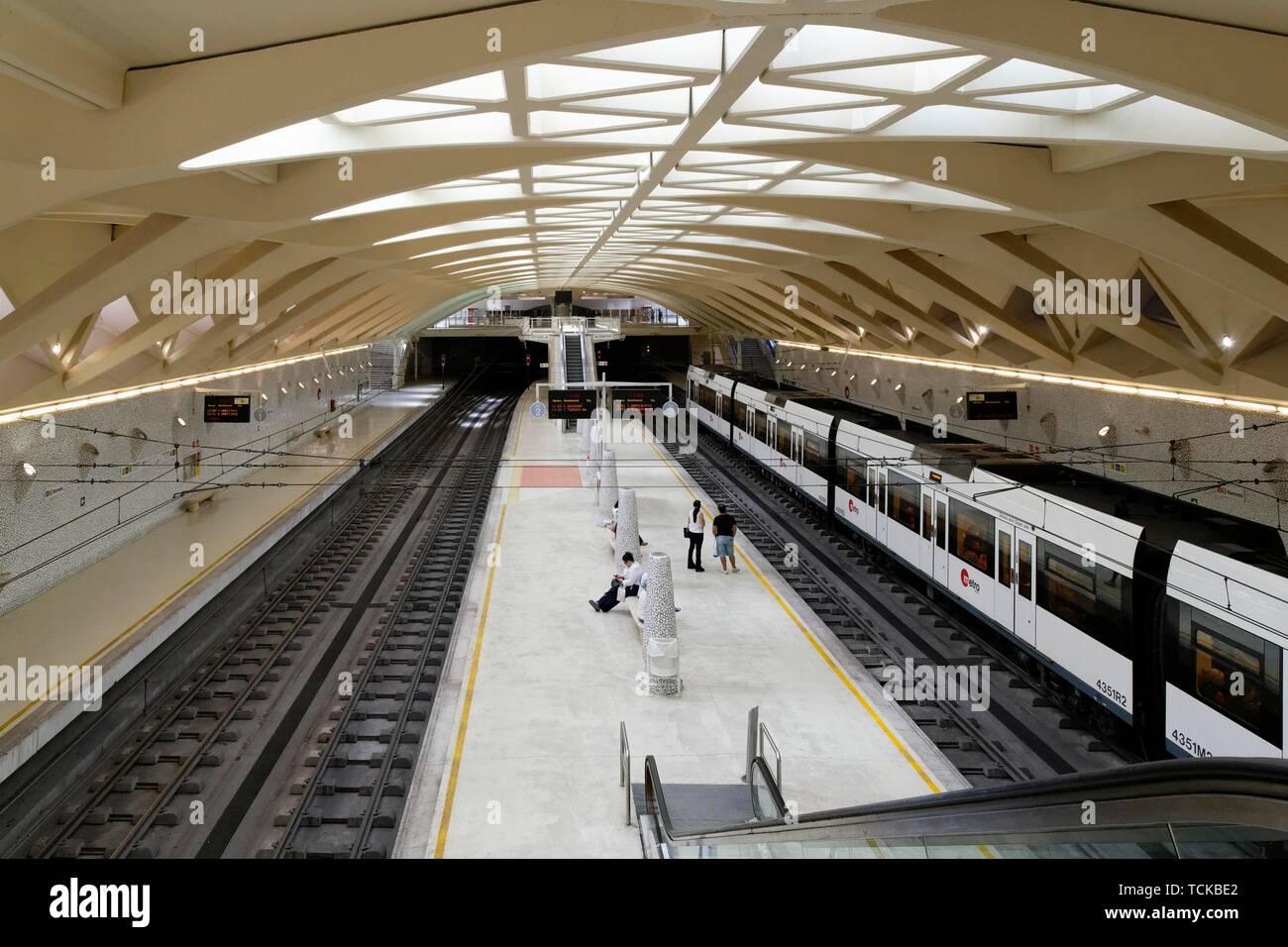 Metro Station Puente de la Exposicion, Valencia, Spain - Stock Image