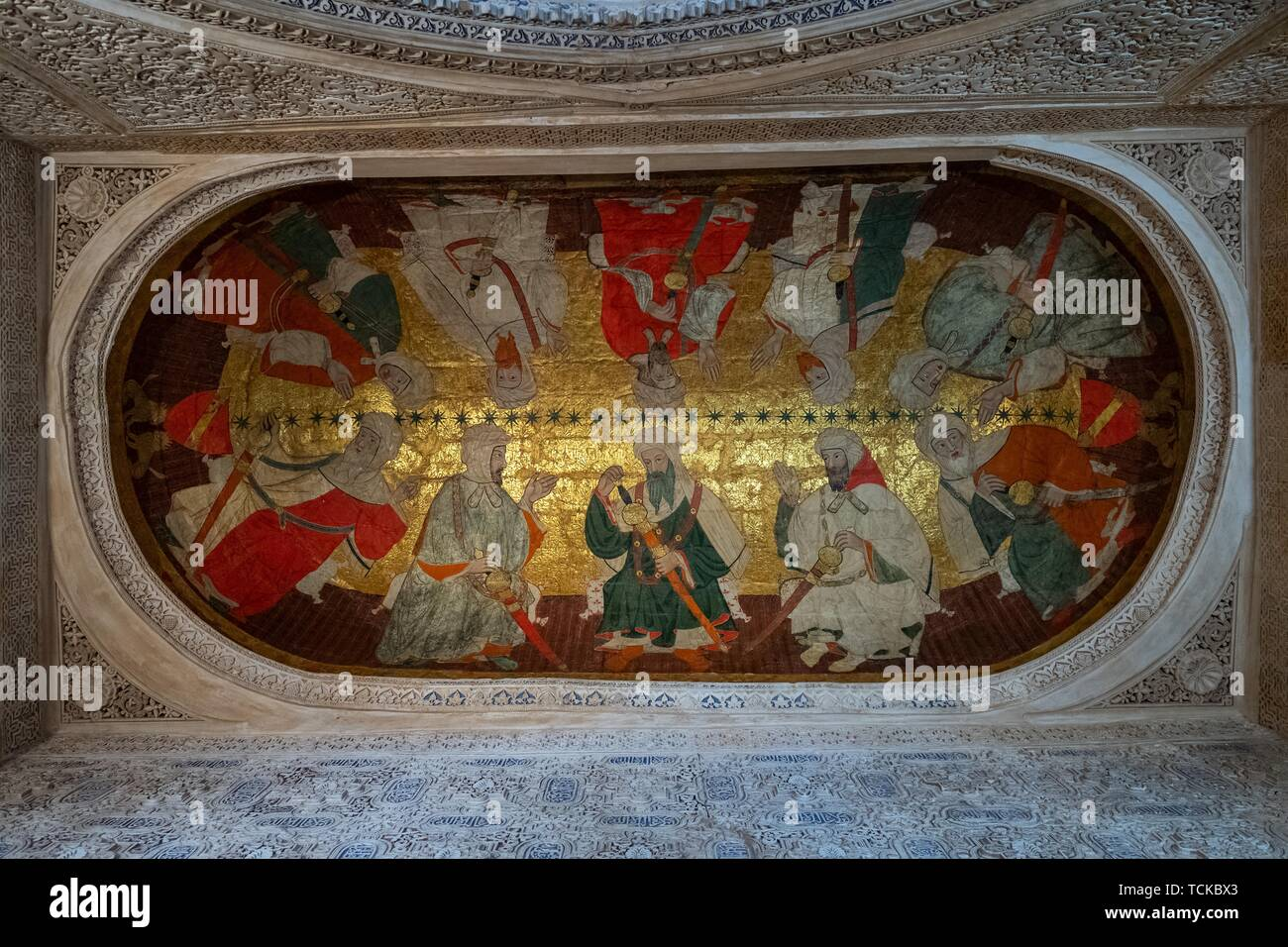 Assembly of ten Islamic dignitaries, ceiling painting, Sala de los Reyes, Room of the Kings, Nasrid palaces, Alhambra, Granada, Andalusia, Spain - Stock Image