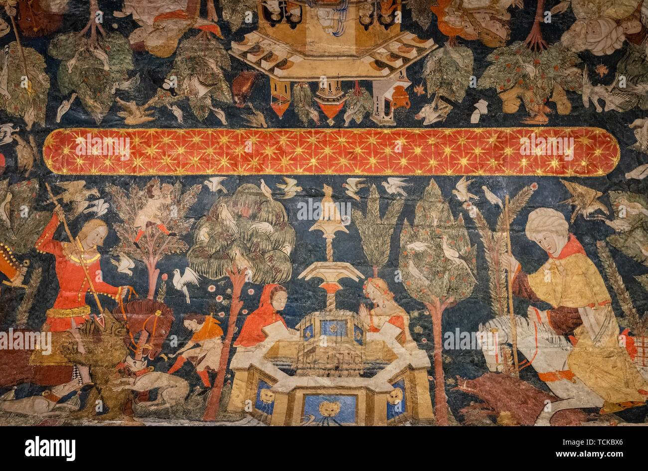 Ceiling painting, Sala de los Reyes, Room of the Kings, Nasrid palaces, Alhambra, Granada, Andalusia, Spain Stock Photo