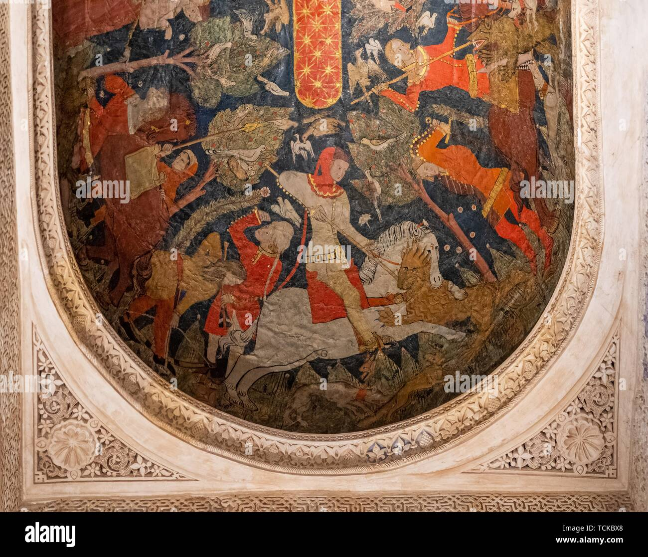 Ceiling painting, Sala de los Reyes, Room of the Kings, Nasrid palaces, Alhambra, Granada, Andalusia, Spain - Stock Image