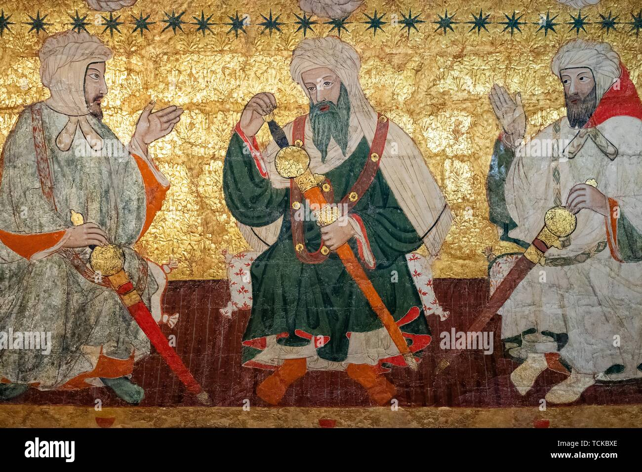 Meeting of Islamic dignitaries, ceiling painting, Sala de los Reyes, Room of the Kings, Nasrid palaces, Alhambra, Granada, Andalusia, Spain Stock Photo