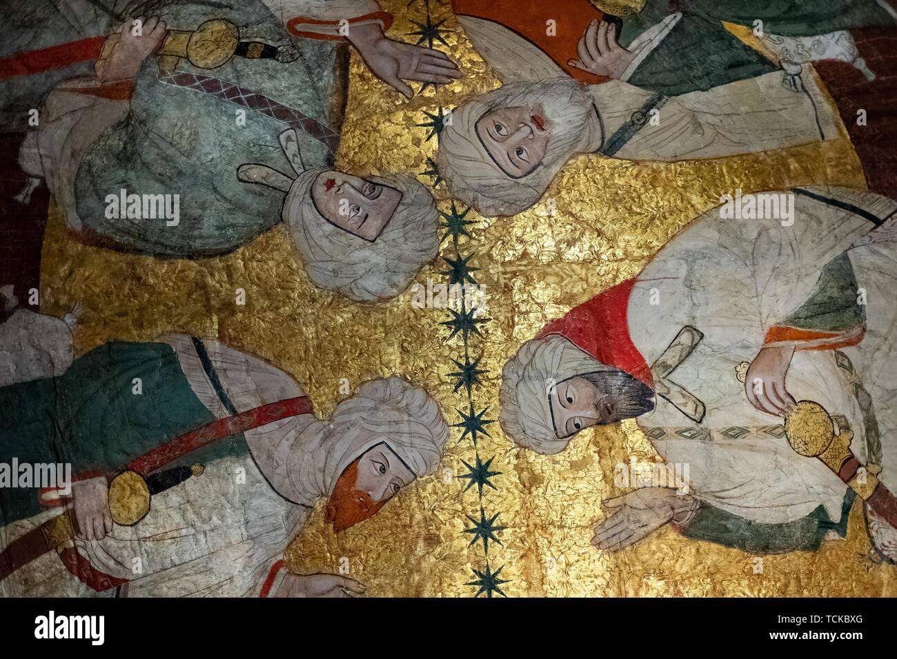 Meeting of Islamic dignitaries, ceiling painting, Sala de los Reyes, Room of the Kings, Nasrid palaces, Alhambra, Granada, Andalusia, Spain - Stock Image