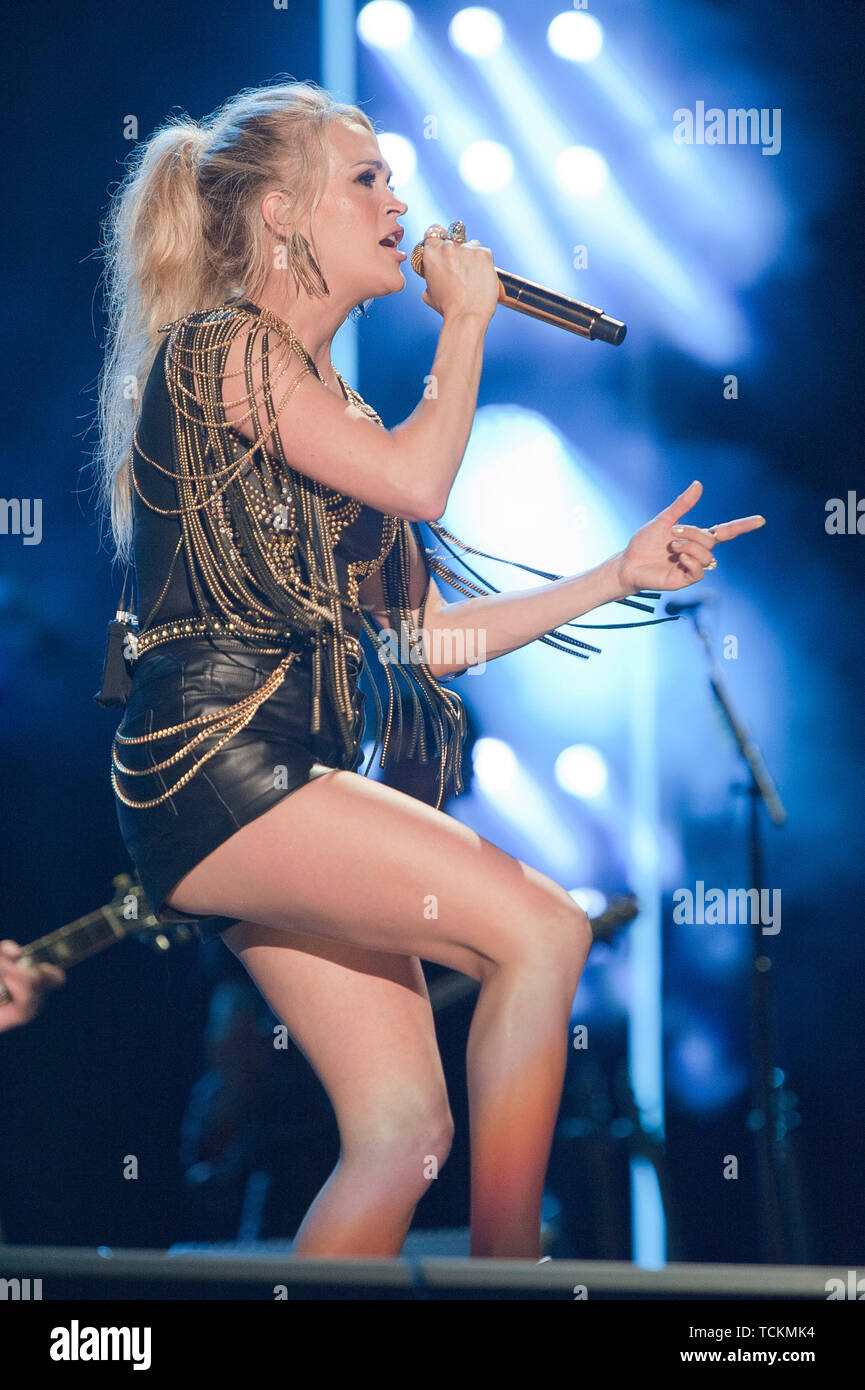 June 7, 2019 - Nashville, Tennessee; USA - Singer CARRIE UNDERWOOD performs live at Nissan Stadium as part of the 2019 CMA Music Festival that took place in downtown Nashville.   Copyright 2019 Jason Moore. (Credit Image: © Jason Moore/ZUMA Wire) - Stock Image
