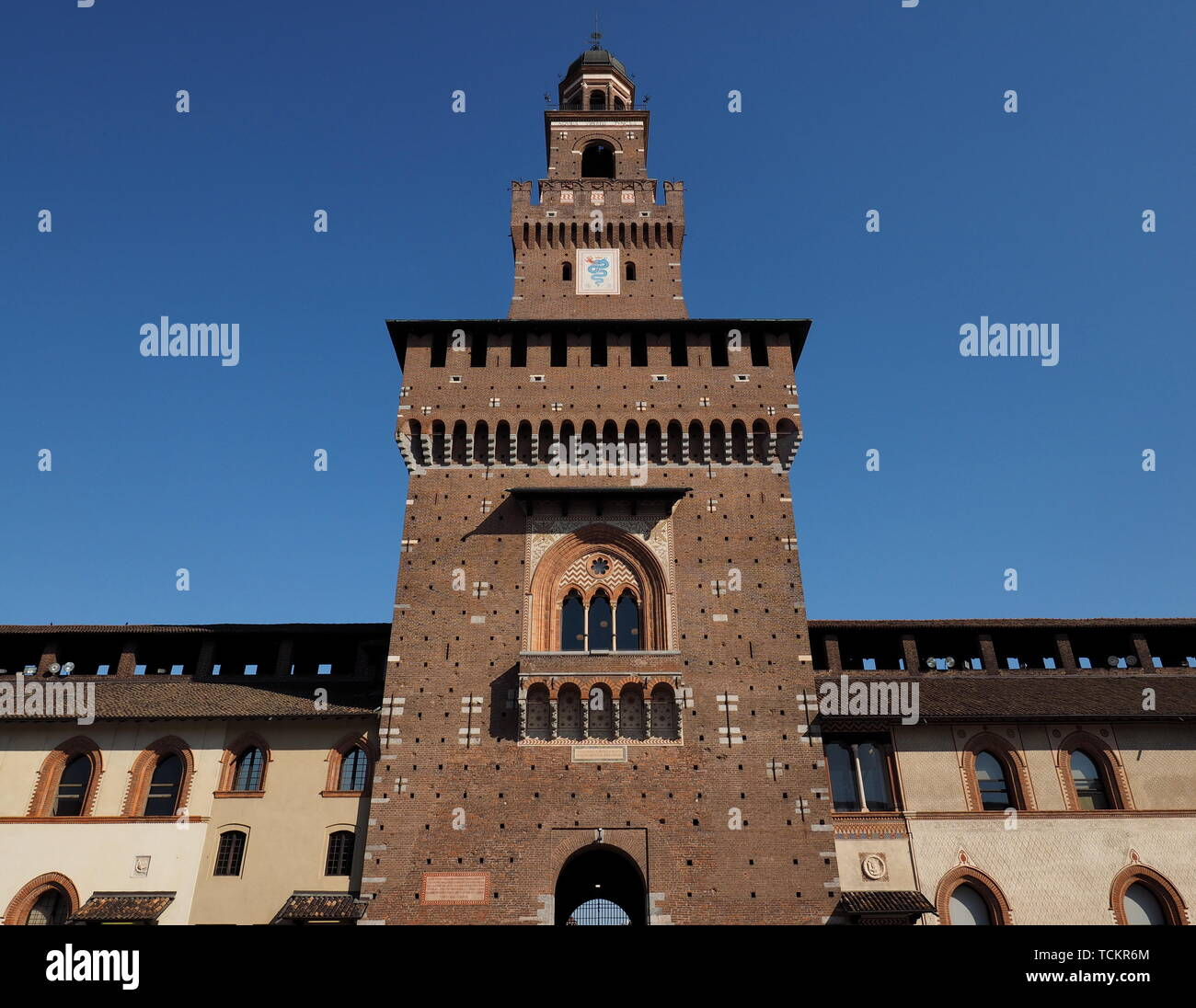Milan (Lombardy, Italy): internal court of the medieval castle known as Castello Sforzesco (built at end of 15th century). Stock Photo