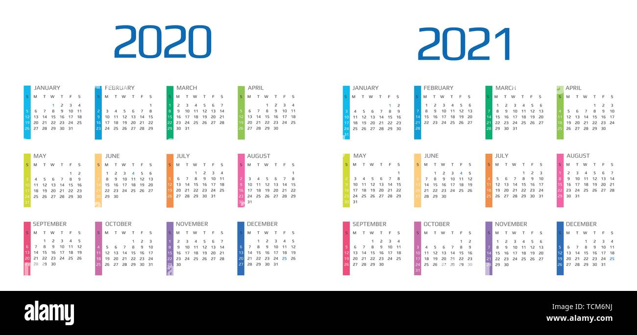 Calendrier 2020 2021.Calendar 2020 And 2021 Template 12 Months Include Holiday