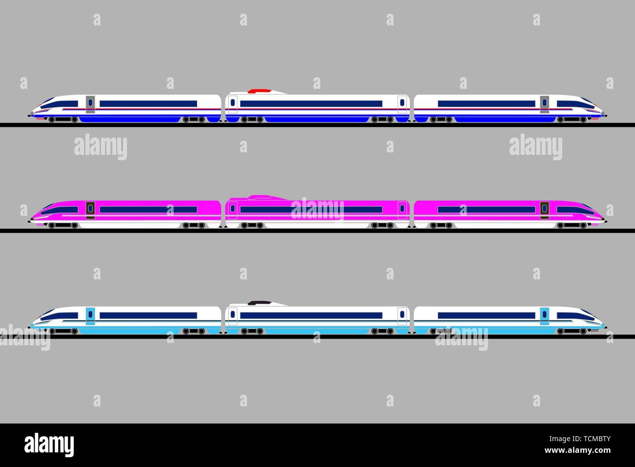 Vector flat illustration of three different colors passenger express trains. Each high-speed train is two locomotives and a passenger car. For catalog - Stock Vector