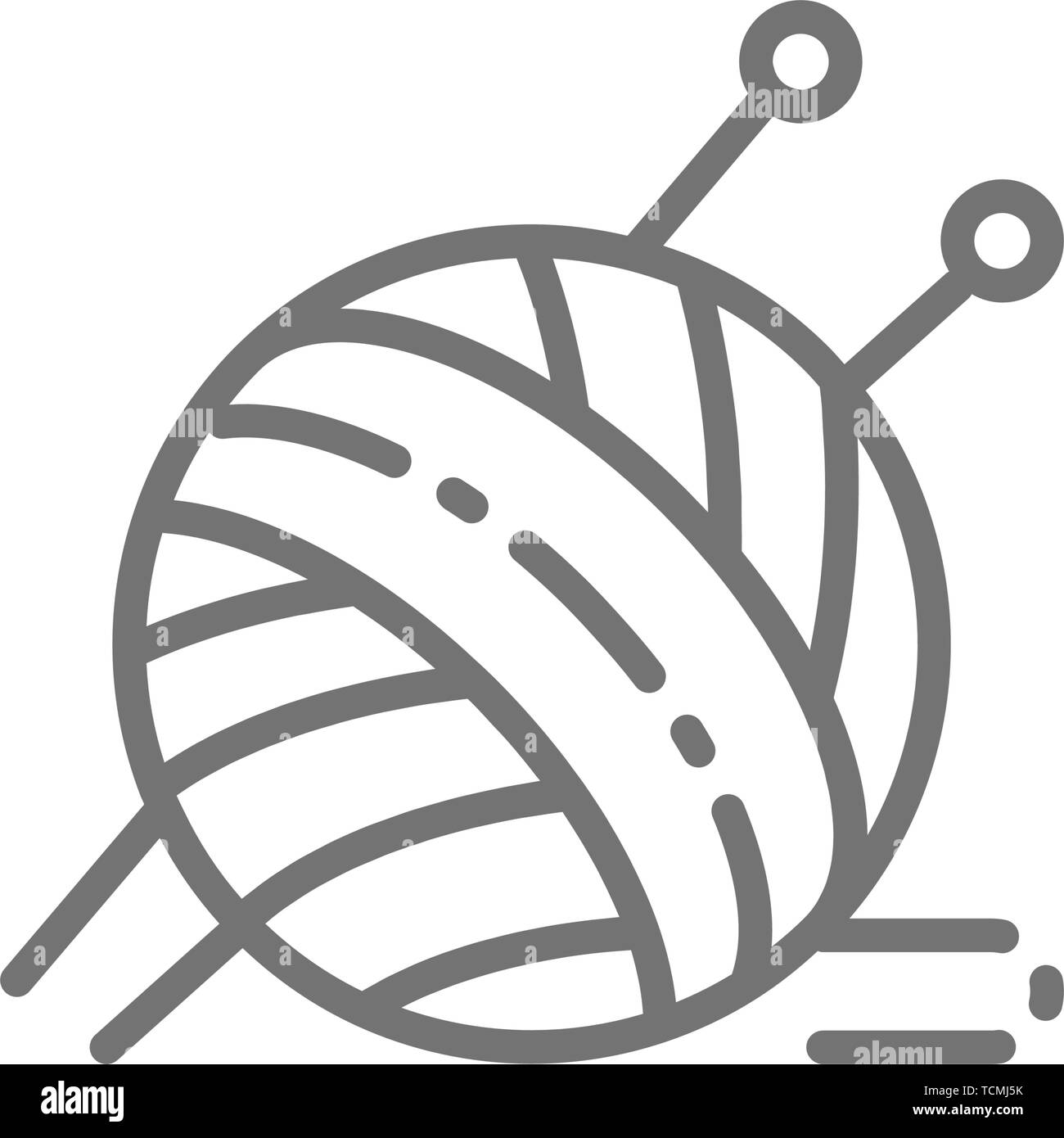 Ball yarn with knitting needles line icon. - Stock Vector