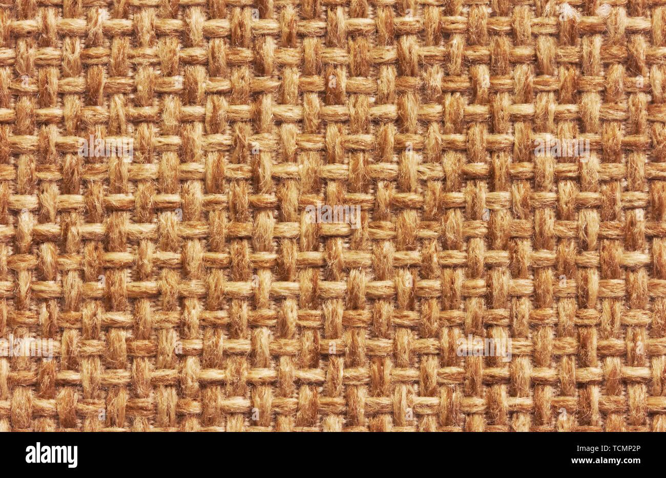 Natural burlap background, close up - Stock Image