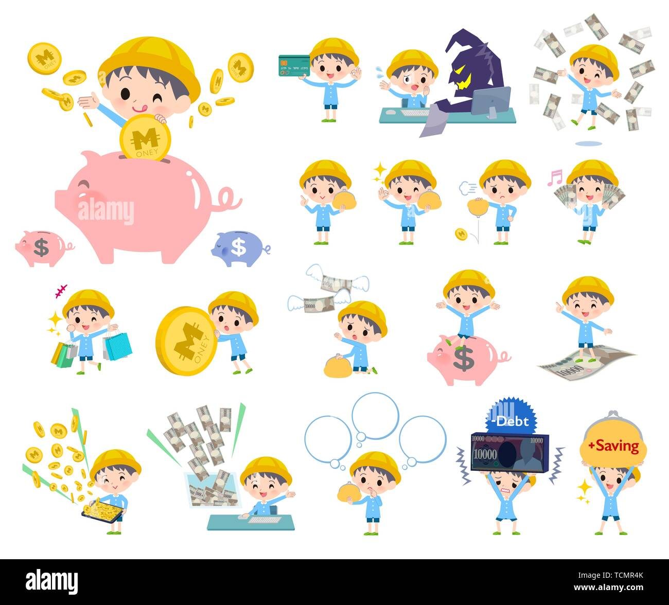 A set of Nursery school boy with concerning money and economy.There are also actions on success and failure.It's vector art so it's easy to edit. - Stock Image