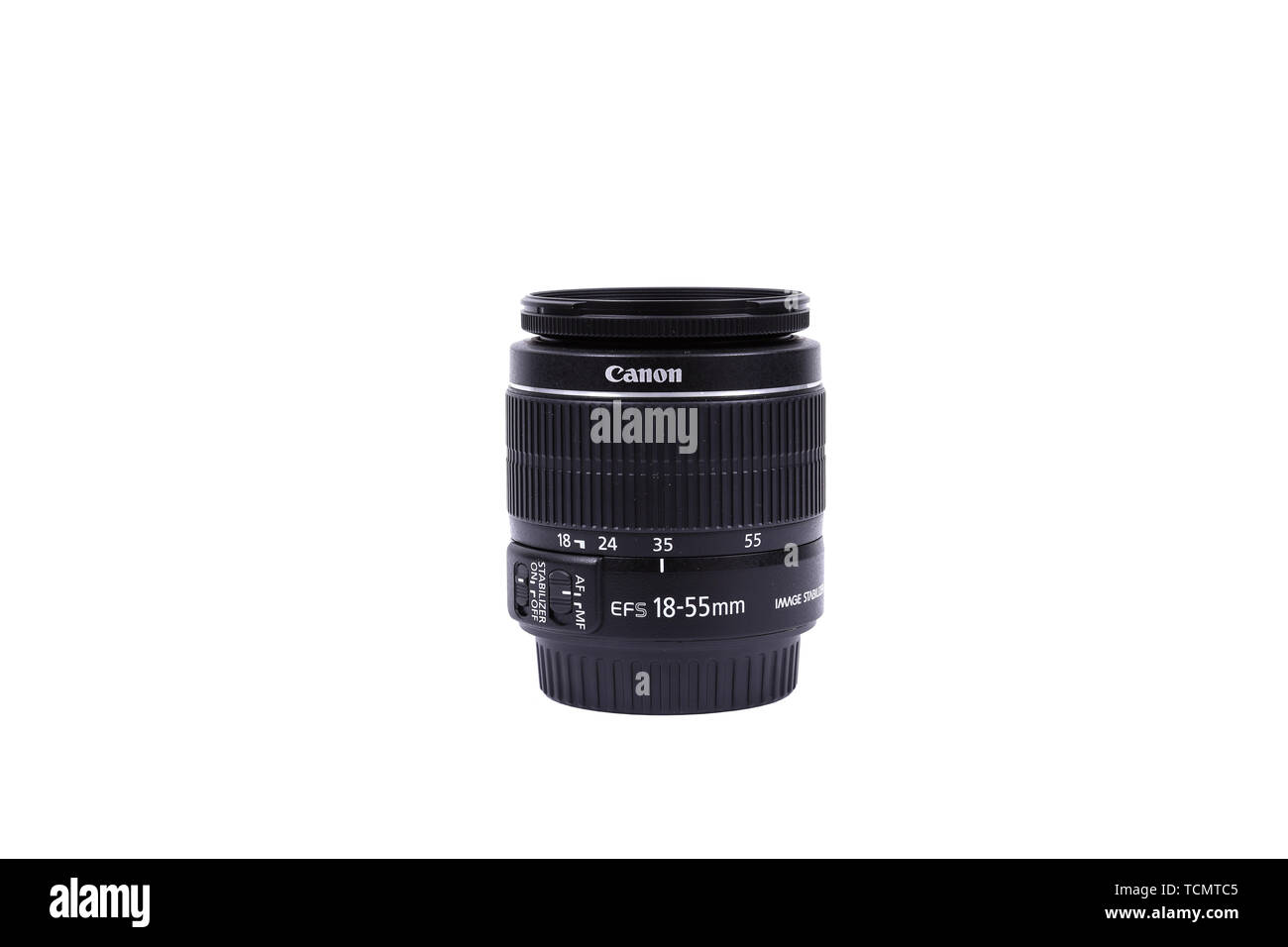 KYIV, UKRAINE - FEBRUARY 28, 2016: Canon 18-55mm f 3.5-5.6 EF-S IS STM Lens. Canon Inc. is a Japanese multinational corporation specialized in the man Stock Photo